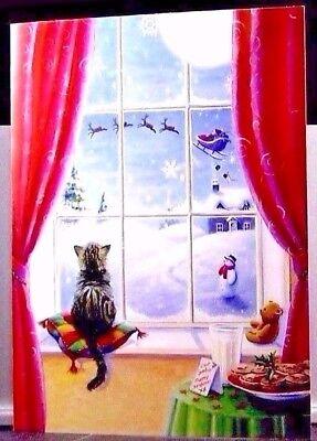 Christmas Sweet Cat Window Watching Santa Claus Sleigh Snow Greeting Card (Sweet Sleigh)