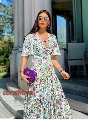 NWT ZARA Green Purple Floral Print V-Neck Open Front Sundress Dress - S / $69.90