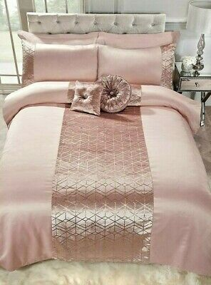Blush Pink and Rose Gold Geo Bedding Duvet Set -Available in Double and Kingsize