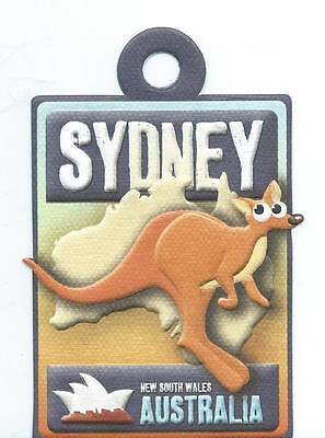 Sydney Australia Embossed Scrapbook Die Cut Tag