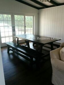 NEW RECOVERY WOOD BEAM/ HARVEST/TRESTLE DINING TABLE & BENCH SET