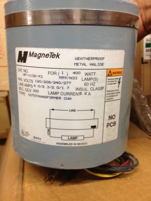 MAGNETEK WP113093 EQUIVALENT TO ADVANCE 79W6091 400W MH WEATHER PROOF BALLAST