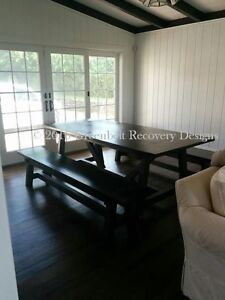 NEW RECLAIMED RECOVERY WOOD BEAM DINING ROOM TABLE & BENCH SET