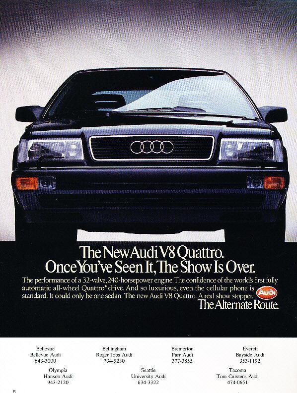 1989 1990 Audi V8 Quattro - Classic Vintage Advertisement Ad H22