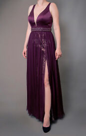 NEW Purple Gold Evening Dress, Elegant Dress, Floor Dress, Long Dress, Prom Dress