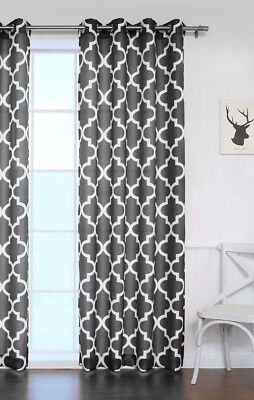 1 PANEL GROMMET PRINTED VOILE SHEER WINDOW CURTAIN TREATMENT BLACK/WHITE   ()