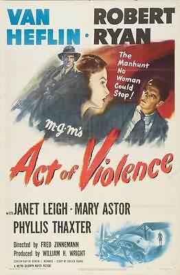 ACT OF VIOLENCE Movie POSTER 27x40 Van Heflin Robert Ryan Janet Leigh Mary Astor