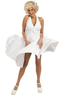 Marilyn Monroe Sexy Hollywood Movie Starlet Halloween Costume White Dress New