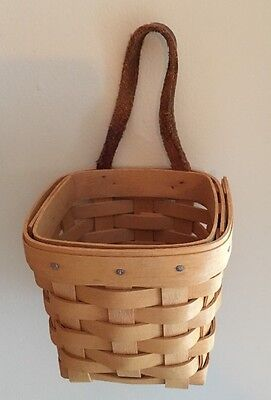 """Longaberger 1998 Chives Booking Basket w/ Leather Handle 4x4"""" Normal Wear"""