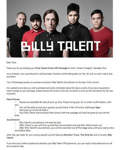 Billy Talent Silver VIP package