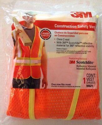 3m Construction Safety Vest Class 2 Scotchlite Reflective Material 1 Size
