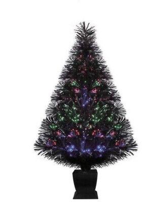 Holiday Time 32 Inch Black Fiber Optic Color Changing Christmas Tree LED Lights