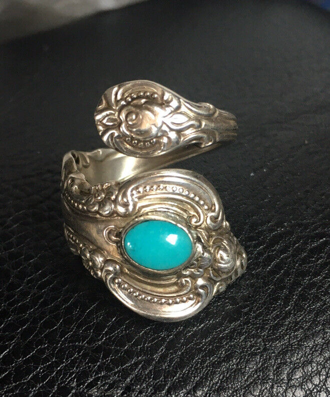 Vintage 1964 El Grandee by Towle Sterling Silver Turquoise Spoon Ring Size 6