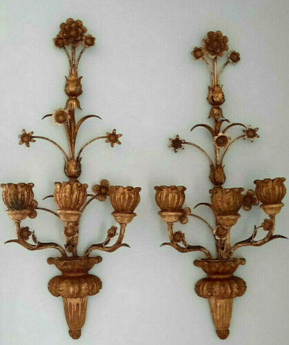 Antique Pair Florentine Tole Wall Sconce Carved Wood Gold Gilt Hollywood Regency