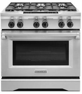 Kitchen Aid KDRS467VSS Pro-Style Duel-Fuel Range Even-Heat True Convection Oven