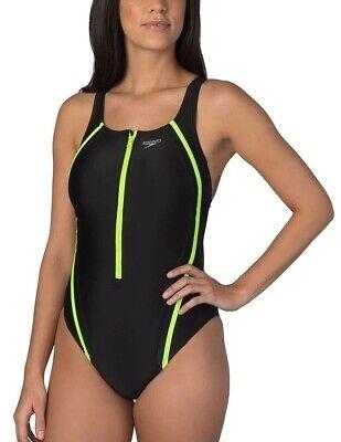 Speedo Women's One Piece Quantum Splice Zip Swimsuit - Black/Green - 8
