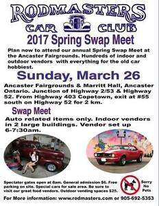 TODAY  Sunday March 26 THE RODMASTER SPRING SWAP MEET, Ancaster