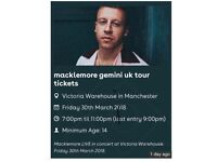 Macklemore Tickets X2 Manchester March 30th @ Victoria Warehouse