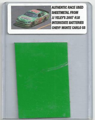 JJ YELEY NASCAR RACE USED SHEET METAL PIECE 2007 INTERSTATE BATTERIES CAR JY 151
