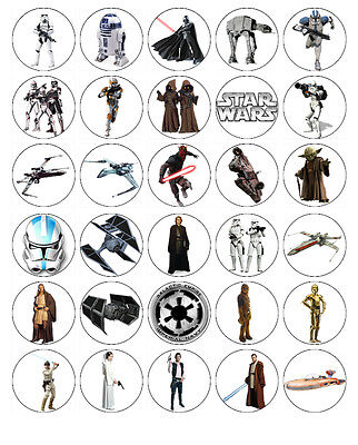 STAR WARS EDIBLE WAFER CUPCAKE FAIRY CAKE TOPPERS DECORATIONS x 30