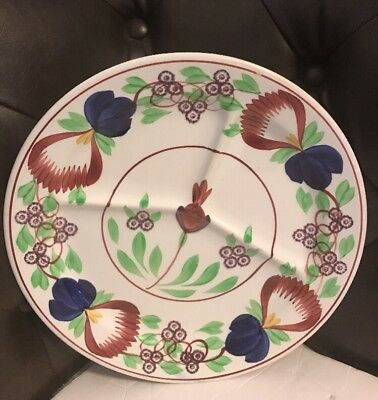 Antique Petrus Regout Maastricht Holland Hand Painted 11in Divided Serving Plate