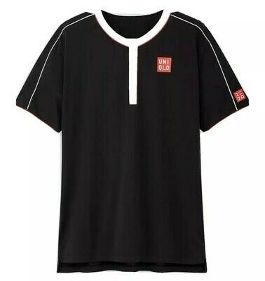 Roger Federer Uniqlo Tennis Black Shirt US Open 2019 - M- BRAND NEW - RARE