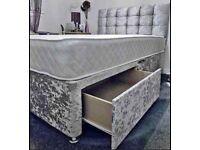CRUSHED VELVET DIVAN BED SETS ON SALE