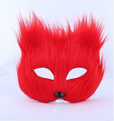 Masquerade Half Face Mask Halloween Red Fox Animal Masks Men And - Half And Half Face Halloween