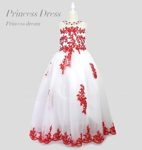 new White and Red Girls Pageant Dresses