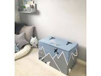 BRAND NEW handmade hand painted wooden toy box / chest