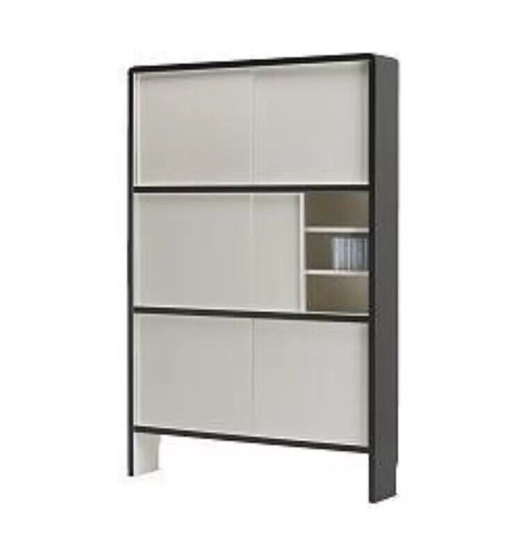 Ikea Dromme Vintage 882 CD Storage Unit Tower Cabinet DVD Media Black/white  Cupboard