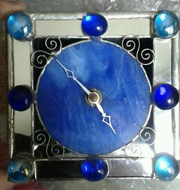 Lovely glass and enamel clock, unusual!