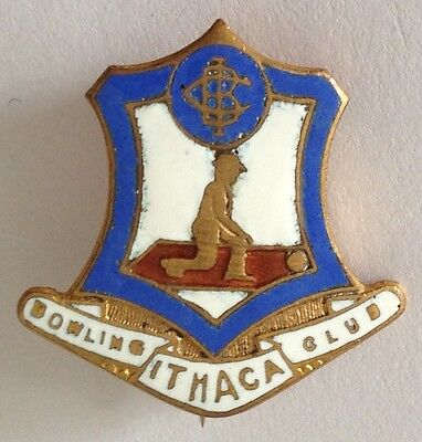 Ithaca Bowling Club Badge Pin Vintage Lawn Bowls (L20) ()