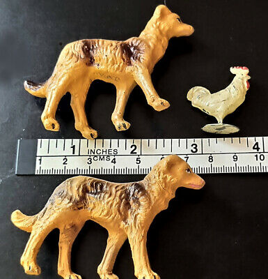 2 Dogs and a Chicken Vintage Metal Miniature Village Train Set Figurines