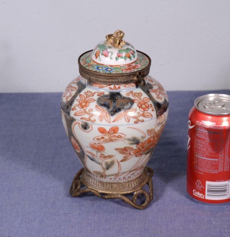 "*9"" Antique Japanese Imari Lidded Urn/Ginger Jar Bronze Fittings 1700"