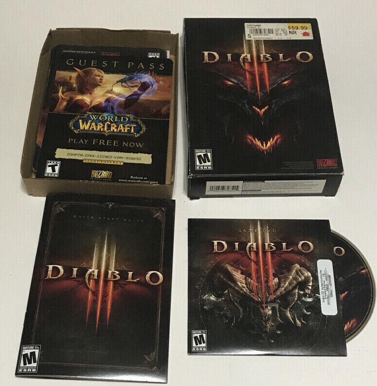 Computer Games - 2012 Diablo 3 Video Game Computer PC Windows XP Vista 7 Macintosh CIB with Key