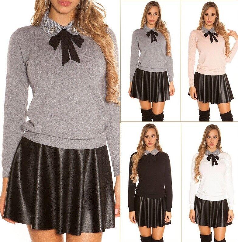 Damen Pullover Strickpullover Strick Pulli mit Kragen und Schleife