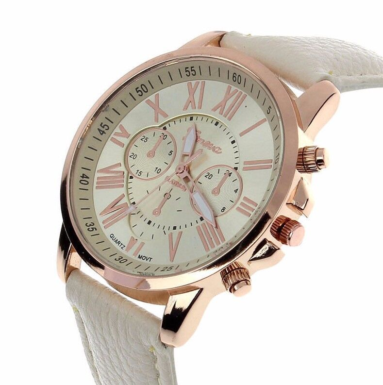 $13.50 - Trendy Sale Luxury Rose Gold Leather Stainless Women Quartz  Dress Fashion Watch