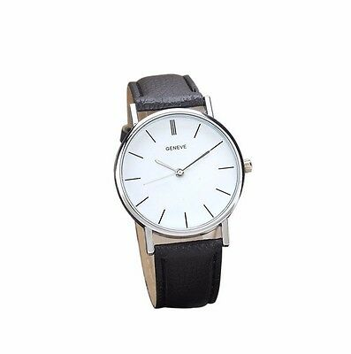 New Sale Geneve Luxury Black Leather Silver Men Women Dress Fashion Quartz Watch