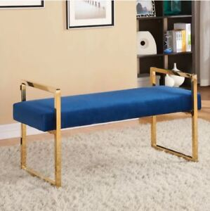 Brand New Golden and Velvet Upholstered Living & Bedroom Bench