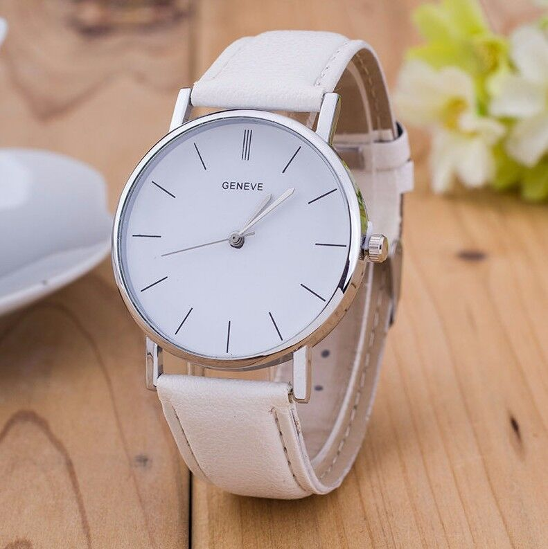 $13.98 - Sale Geneve Luxury White Leather Stainless Men Women Quartz Dress Fashion Watch