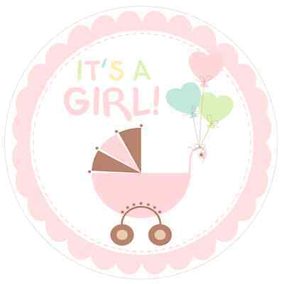 Baby Shower Welcome {girly Pink} Edible Round Cake Topper Decoration