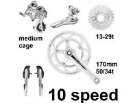NEW campagnolo 10 speed road bike groupset 50/34 13-29 ergo powershift climbing compact mid cage
