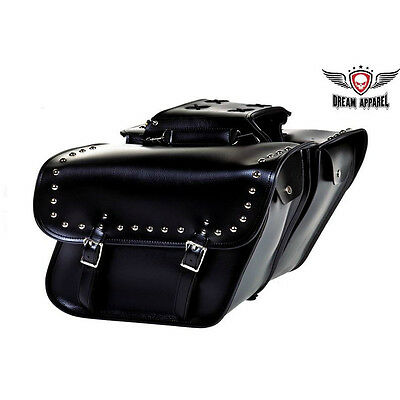 Motorcycle Saddle Bags w/Stud Black Heavy Duty Waterproof Throw Over Luggage Bag