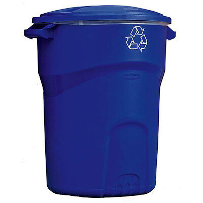32 Gal. Rubbermaid Commercial Recycling Bin Outdoor Garbage Can Trash Container