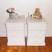 Shabby chic 2x solid wood bedside tables Cremorne North Sydney Area Preview