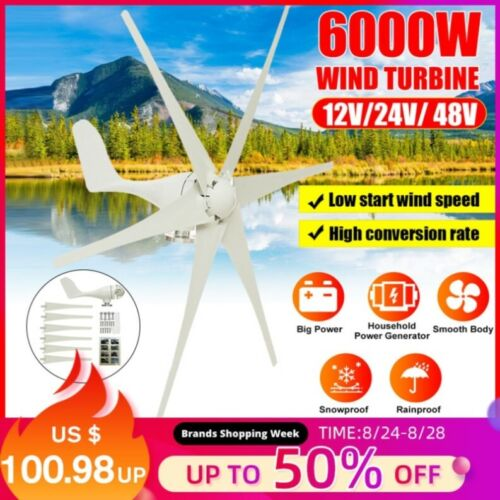 6000W wind turbine 12V/24V/48V. generator charger Motorhome. free power energy
