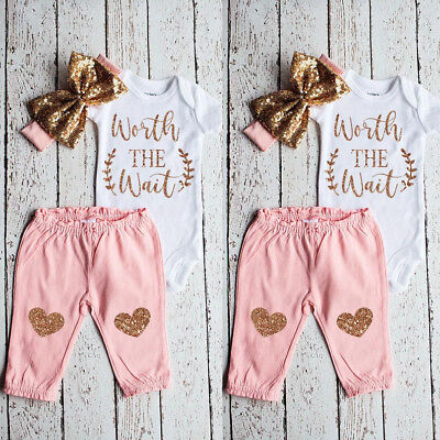 US WORTH THE WAIT Baby Girl Tops Romper Pants Headband Kids Outfit Set Clothes