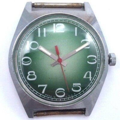 Soviet POLJOT WindUp watch 1970s Nice Green Dial Serviced VGC *US SELLER* #874