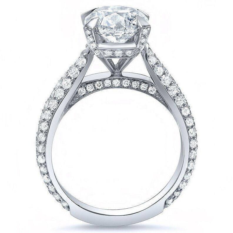 Stunning 1.80 Ct Cushion Cut Diamond MicroPave Engagement Ring D,VVS1 GIA 14K WG 1